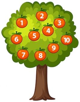 木にオレンジ色を数える