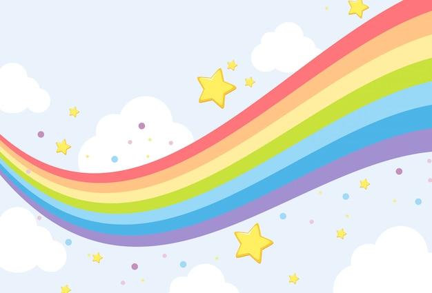 空の虹の背景テンプレート