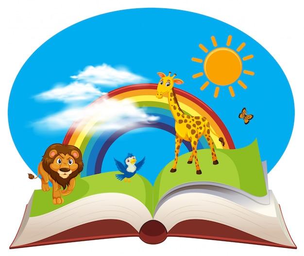 開いた本の野生動物