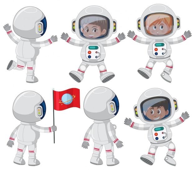宇宙飛行士のキャラクターのセット