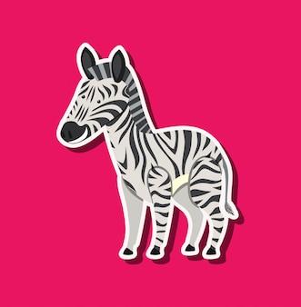 Зебра на розовом шаблоне