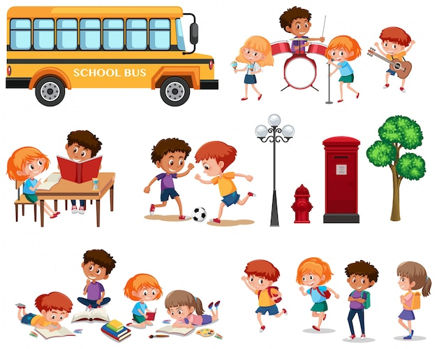 分離された学校の子供たちのセット