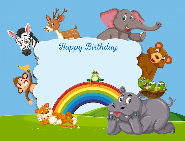 誕生日テンプレートに野生動物