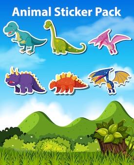 Набор наклеек динозавров