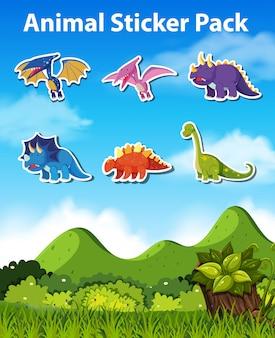 Набор символов динозавров