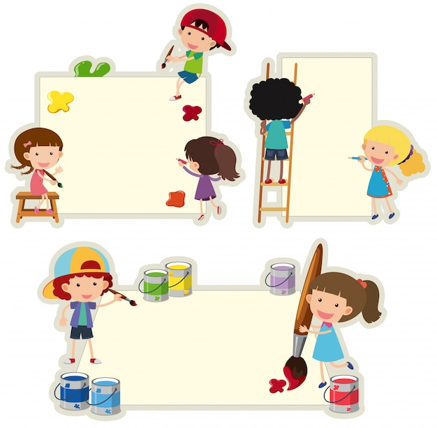 紙の上に子供の絵を描く紙のテンプレート