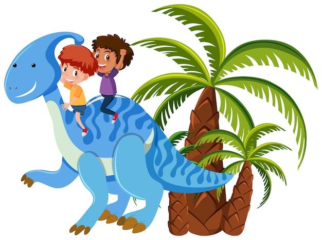 恐竜に乗る子供たち