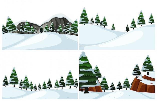 Набор холодного зимнего пейзажа