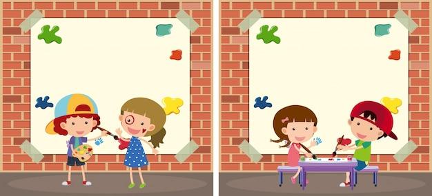 Два пограничных шаблона с изображением детей на стенах
