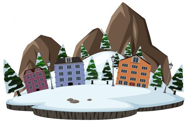 Изолированная снежная деревня