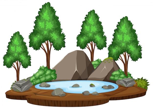 孤立した自然の池