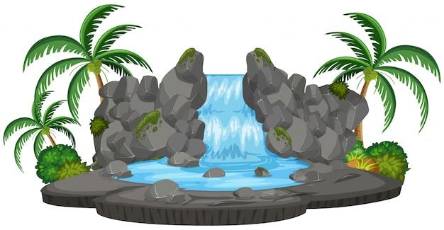 孤立した自然の滝