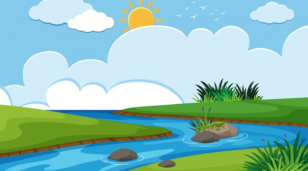 単純な川の風景