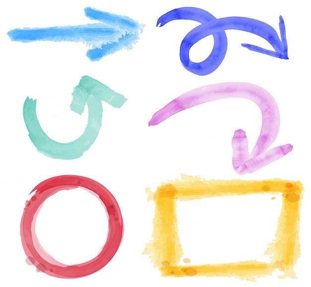 水彩で異なる矢印とフレーム