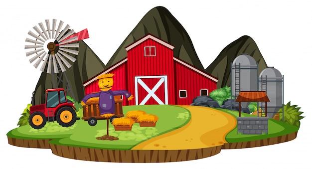 孤立した漫画の農場のシーン