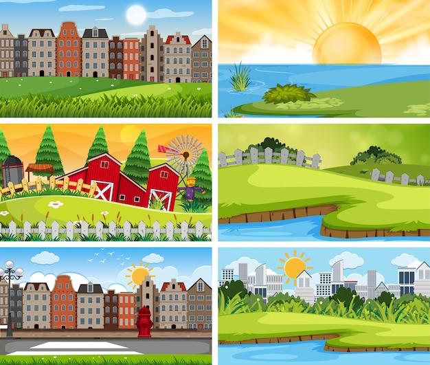 Набор городского и сельского пейзажа