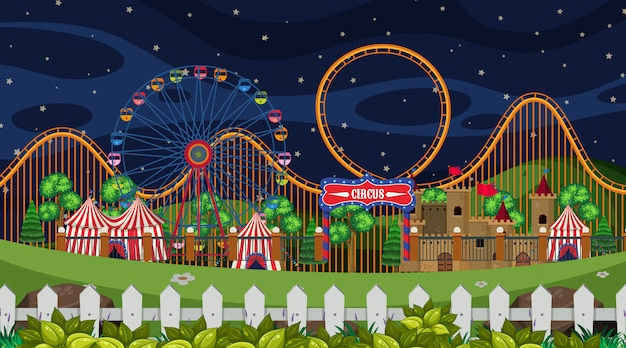 Цирковая сцена ночью