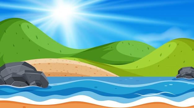 Океан пляж фоновая сцена