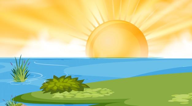 湖の太陽の背景シーン