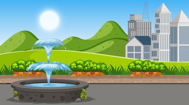 噴水のある屋外シーン