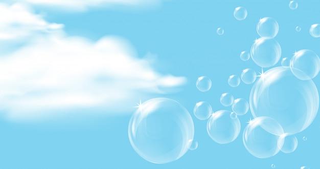 Небесный фон с прозрачными плавающими пузырьками