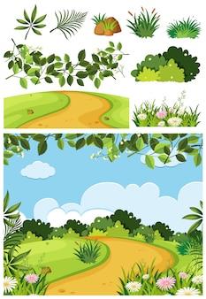 未舗装の道路と公園の自然風景