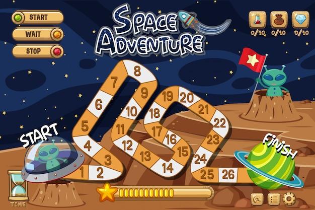 月のエイリアンとゲームの背景テンプレート