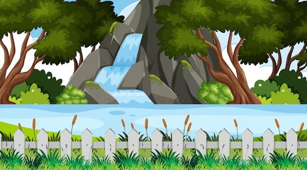 公園内の滝のある風景の背景