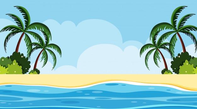 昼間の海辺の風景の背景