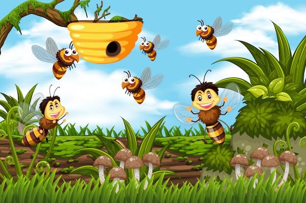 ジャングルのシーンでの蜂と蜂の巣