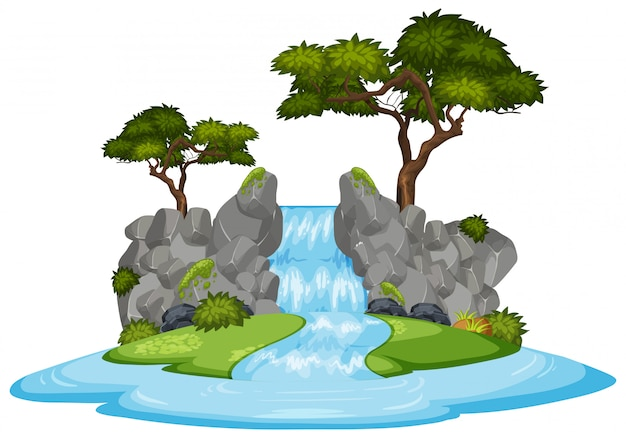 緑の木々と滝の自然風景
