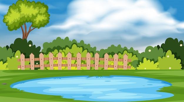 公園の池のある風景の背景