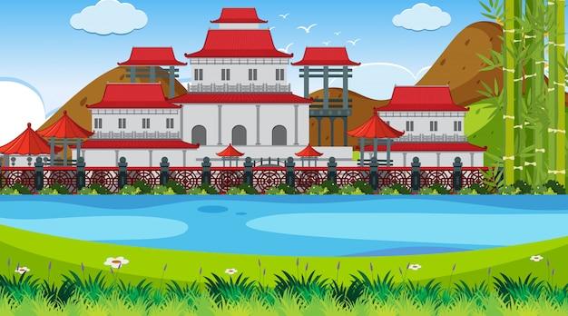 Сцена на открытом воздухе с азиатским замком