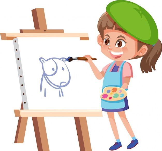 キャンバスに描いている女の子