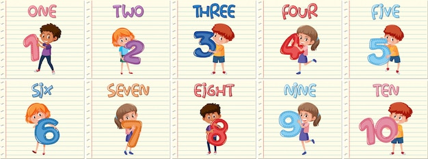 Набор детей с номером от одного до десяти