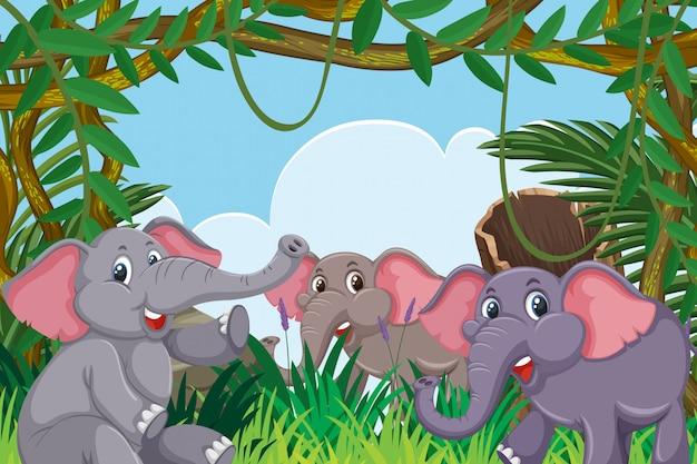ジャングルのシーンの象