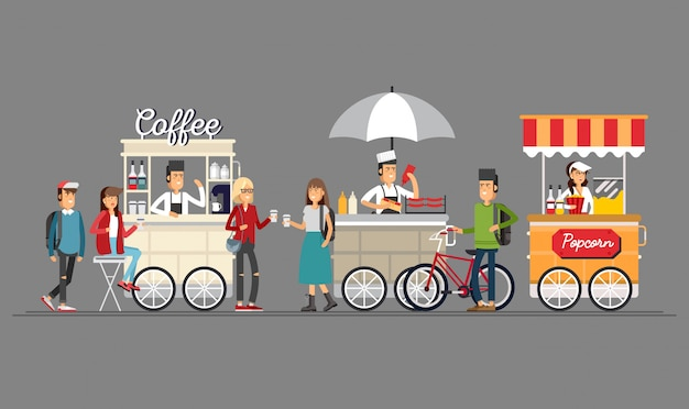 Креативная подробная уличная кофейная тележка, магазин попкорна и хот-дога с продавцами