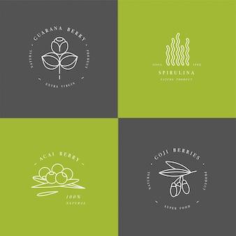Здоровый эко еда логотип шаблон