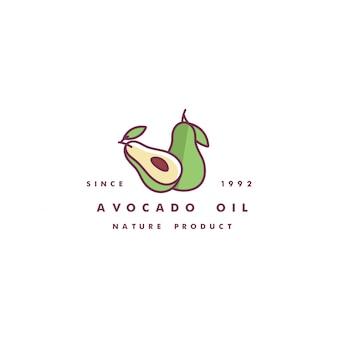 デザインテンプレートのロゴと直線的なスタイルのアイコン-アボカドオイル-健康的なビーガンフード。ロゴサイン。