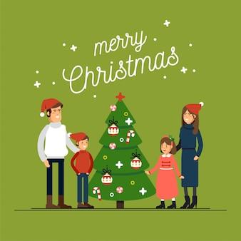 Большая счастливая семья в новогодних шапках обнимает открытку