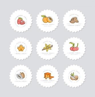 Набор красочных шаблонов логотипа и эмблемы - сиропы и начинки. значок питания. логотипы в модном линейном стиле изолированы.