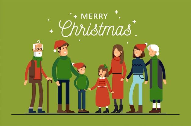 Большая счастливая семья в новогодних шапках обнималась. родители с детьми стоят вместе, держась друг за друга.