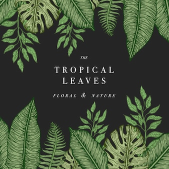 熱帯のヤシの葉。ジャングルテンプレート。図