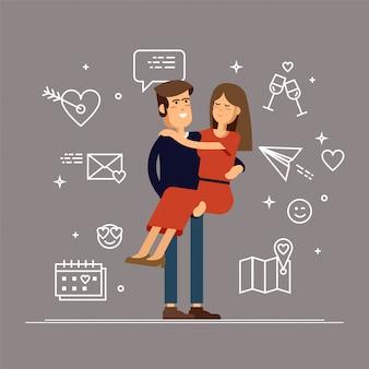 Влюбленная пара. мужчина и женщина ласково обнимают друг друга и держат девушку на руках.