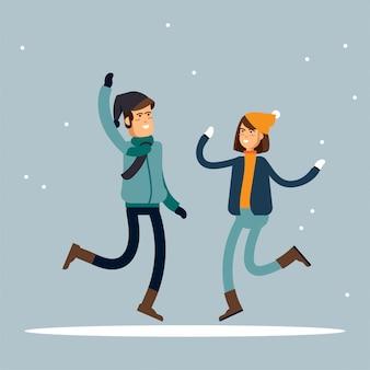 Счастливого зимнего отдыха. тепло одетые люди в прыжке. веселое рождественское призвание. иллюстрация
