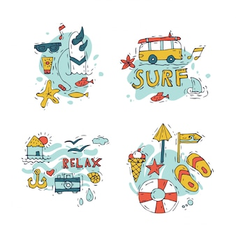 手描きのサーフィンと夏休みの合成