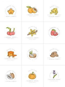 デザインのカラフルなテンプレートのロゴとエンブレム-シロップとトッピングを設定します。食品アイコン。白い背景に分離されたトレンディな直線的なスタイルのロゴ。