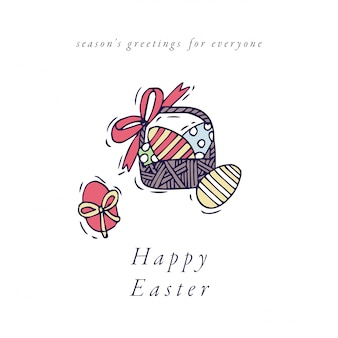 Состав пасхальных яиц. красочная линейная корзина значков пасхальных яя на белой предпосылке. весеннее настроение.
