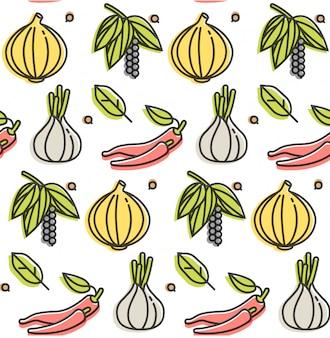 ハーブとスパイスのパターン。さまざまなスパイスと食材のアイコン。抽象的な背景を繰り返します。