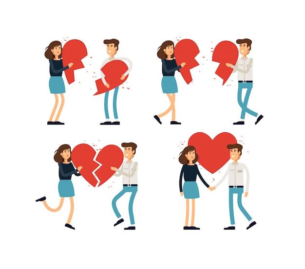 Иллюстрация набор влюбленная пара, семья, отношения. молодая женщина и мужчина держат половинки сердца. концепция иллюстрации.